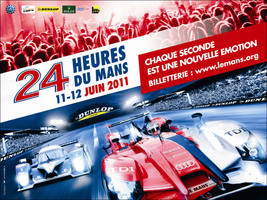 eerste poster 24 uur van le mans 2011. Black Bedroom Furniture Sets. Home Design Ideas